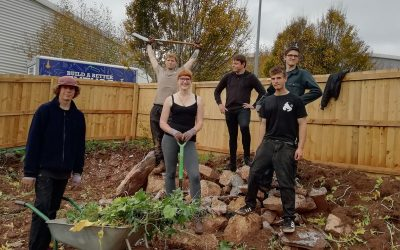 Horticulture and Bricklaying students support UCSD Therapy Garden
