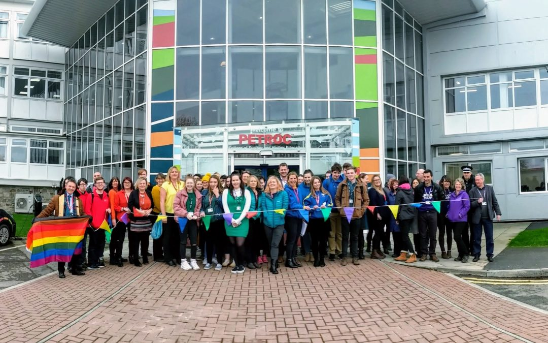 Petroc staff and students make human rainbow to mark start of LGBT+ History Month
