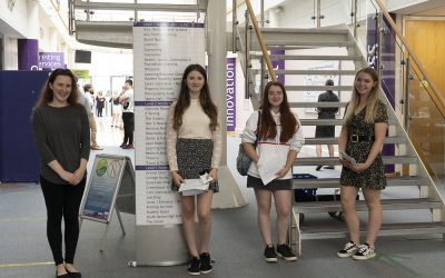 South Devon College students celebrate excellent A Level results, with 99% overall pass rate