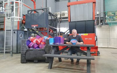Old wheelie bins and plastic bottle tops are transformed into outdoor furniture this Recycle Week